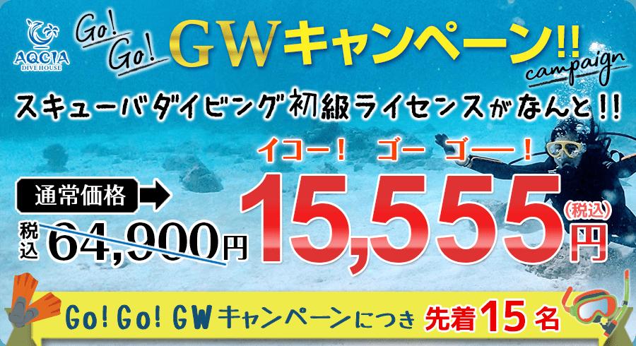 【Go!Go!GWキャンペーン】スキューバダイビング初級ライセンスが 15,555円! (先着15名様)