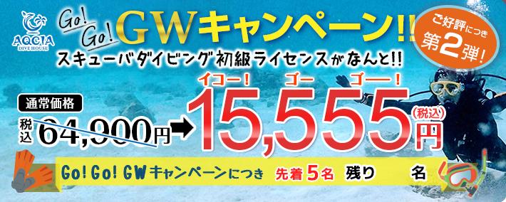 【Go!Go!GWキャンペーン第2弾】スキューバダイビング初級ライセンスが 15,555円! (先着5名様)