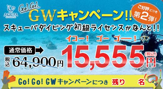 Go!Go!GWキャンペーン第2弾 スキューバダイビング初級ライセンスが 15,555円  先着5名様