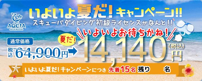 スキューバダイビング初級ライセンスが 14,140円! (先着15名様)